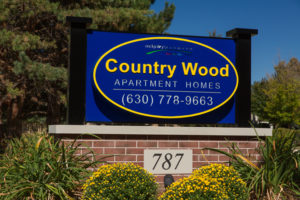 Country Wood Apartment Homes 630-778-9663, brick sign