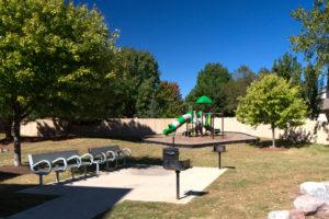 Children's playground, BBQ area, 2 benches