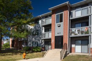 exterior building 785, sidewalk, trees, stairway