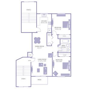 """2 bed 1 bath floor plan, bedroom 11' 8"""" x 10"""", bedroom 10' x 10' 6"""", living room 11' 10"""" x 13' 9"""", dining room 8' x 11', kitchen 8' 10"""" x 10', 2 closets"""
